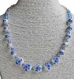 Halsketting delftsblauwe kralen Bloem