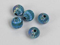 Metalen lichtgewicht kraal turkoois kleur met AB, 14mm. Per stuk.