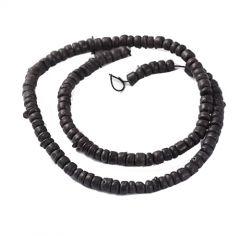 Snoer zwarte cocokralen, ongeveer 105 kralen