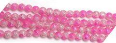 Glaskralen zakje transparant roze crackle kralen 6mm.
