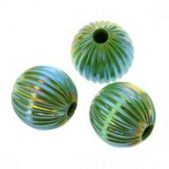 Metalen lichtgewicht kraal zacht groen met AB, 14mm. Per stuk.