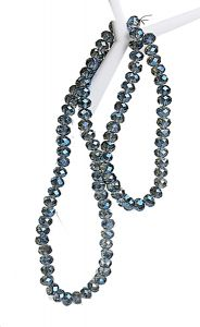 Zakje swarovski style, diamant blauw, facetgeslepen rondel, 6x4mm. 87 kralen.