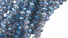 Snoer  facetgeslepen firepolished diamant blauwe rondel, 6x4mm.