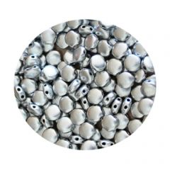 2-gaats Discduo 6x4mm, aluminium zilver. Per 25 stuks.