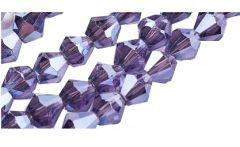 Glaskraal bicone distel paars met plating 3x3mm. Per 50 stuks.