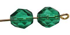 Glaskraal facetgeslepen AAA kwaliteit donker groen  8x7mm, per stuk.