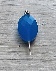 Glaskraal facetgeslepen 15x10x5mm azuur blauw opaque. Per stuk.