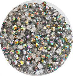 Glaskraal facetgeslepen 3mm Crystal Vitrail, per 50 stuks.
