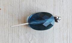 Glaskraal facetgeslepen 13x10mm  blauw Indicolite. Per stuk.