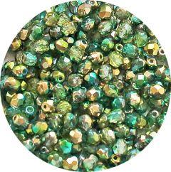 Glaskraal facetgeslepen 4mm Sunny Magic Colors groen. Per 50 stuks.