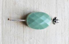 Glaskraal facetgeslepen 15x10mm  groen opaque. Per stuk.