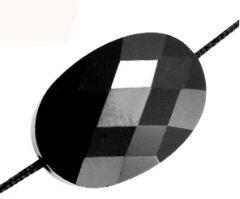 Glaskraal facetgeslepen 13x10mm, jet zwart. Per stuk.