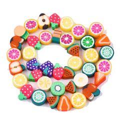 Katsuki polymeer fruit kralen, per 10 stuks, 7~11x8~12x3~7mm