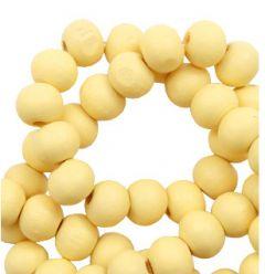 Houten kraal geel 8mm, per 50 stuks.