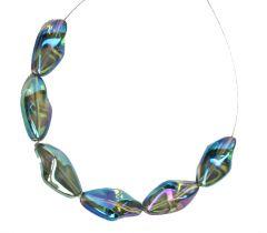 Glaskraal langwerpig gedraaid, blauw-groen, 23x13mm. Per kraal.