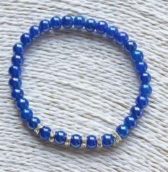Armband blauwe glaskraaltjes 6mm met strass