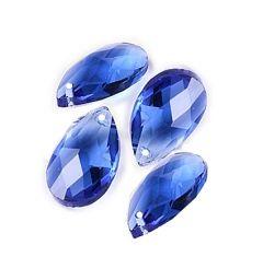 Glaskraal druppel facetgeslepen 22x13x7mm, blauw, per 4 stuks.