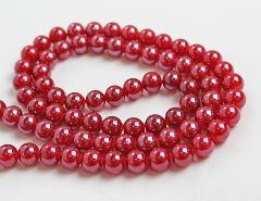 Glaskraal donker rood met mooie glans, 10mm. Per 20 stuks