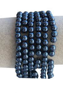 Glasparel hematite blauw 6mm. Per 50 stuks.