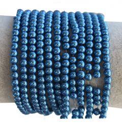 Glasparel blauw 4mm. Per 60 stuks