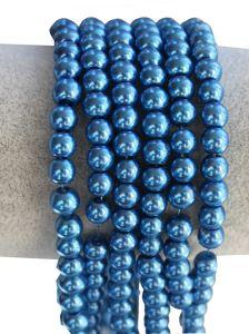 Glasparels blauw 6mm per 50 stuks.