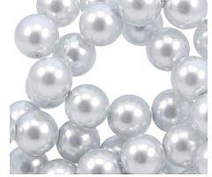 Glasparels DQ zilver-witte kleur 8mm. Per 49 stuks.
