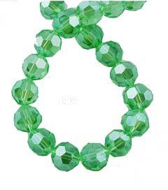 Snoer facetgeslepen glaskralen groen met parelglans 4mm.