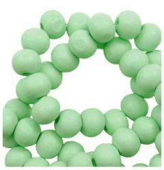 Houten kraal Licht groen 8mm. Per 50 stuks.