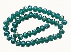 Snoer facetgeslepen, firepolished  kralen emerald groen, 8x6mm.