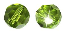 Glaskraal facetgeslepen AAA kwaliteit 6mm Periodot groen. Per stuk.