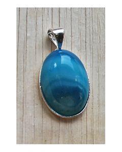 Hanger Agaat blauw gestreept 25x15mm