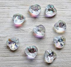 Glaskraal hartjes kristal 10x10x4mm. Per stuk.