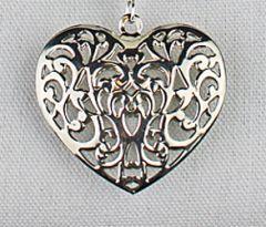 Hanger metalen hartje nikkelkleur, opengewerkt, 56x53mm