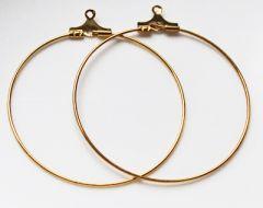 Hoepel oorbellen goudkleurig 35mm. Per set.