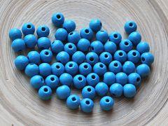 Houten kraal lichtblauw 8mm. Per 50 stuks.