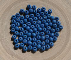 Houten kraal blauw 6mm. zakje 100 stuks.