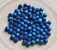 Houten kraal (donker)blauw 8mm. Per 50 stuks.