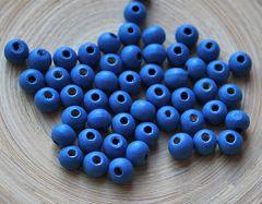 Houten kralen donkerblauw 6mm, zakje 100 stuks.