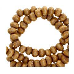 Kraal hout natuurlijk hazelnoot bruin 8mm, per 100 stuks.