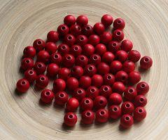 Houten kraal (donker)rood 6mm. Zakje 100 stuks.