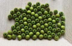Houten kraal licht groen 6mm in zakje met 100 kralen