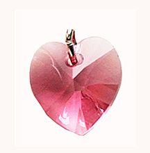 Hanger Swarovski hartje roze, 14mm