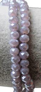 Snoer glaskraal facetgeslepen rondel 6x4mm zacht lila/grijs met coating, imitatie jade