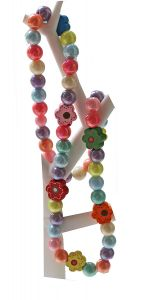 Kinderketting 10mm pastelkralen met bloemkralen