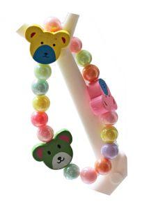 Kinderarmband 8mm pastel kralen met beertjes