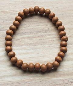 Armband houten kralen middel bruin 8mm