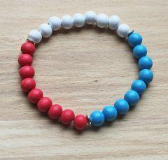 Armband houten 8mm kralen in rood/wit/blauw