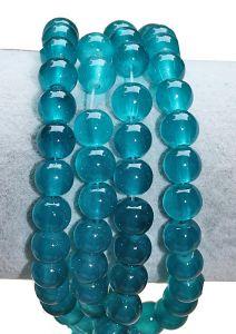 Glaskraal ronde Teal blauwe kralen 8mm. Per 40 stks