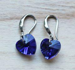 Oorbellen blauw kristallen hartje