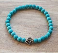 Armband 6mm blauw-groene turkooiskleur kralen